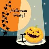 Invitation for Halloween party retro style. Illustration of singing Halloween pumpkin Royalty Free Stock Image