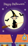Invitation for Halloween party retro styleHalloween greeting card, witch flying over a town. Illustration of witch flying on a broom over a town Royalty Free Stock Image