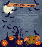 Invitation Halloween poster with cute monster. Royalty Free Stock Photography