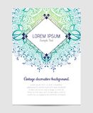 Invitation with hand drawn mandala pattern. Royalty Free Stock Images