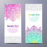 Invitation with hand drawn mandala pattern. Stock Image