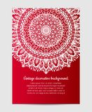 Invitation with hand drawn mandala pattern. Stock Photo