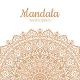 Invitation with hand drawn mandala pattern. Royalty Free Stock Photography