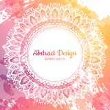 Invitation with hand drawn mandala pattern. Stock Photos