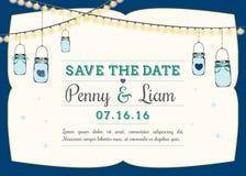 Invitation - Hanging mason jars vector illustration
