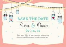 Invitation with hanging mason jars Stock Photo