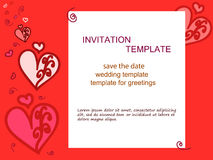 Invitation-heart-red-background. Invitation heart, red background. For wedding invitations, save the date, birthday and other holiday. Vector illustration Royalty Free Stock Photography