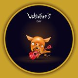 Card pig with guitar dark stock illustration