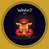 Card pig with signs dark royalty free illustration