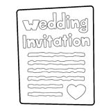 Invitation icon, outline style Stock Photo