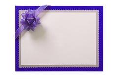 Invitation invite card blue border purple bow isolated white background. Invitation invite card blue border purple bow isolated stock image