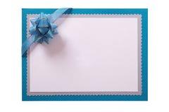 Invitation invite card cyan blue border isolated white background. Invitation invite card cyan blue border isolated royalty free stock photography