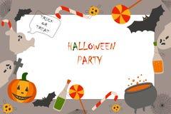 Invitation ? la partie Halloween Potiron, bouteille, crâne, croix, bonbons, batte, chaudron illustration de vecteur