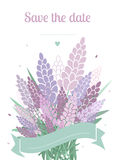 Invitation with lavender Stock Photography