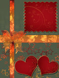 Invitation letter with hearts with bow on green Royalty Free Stock Image