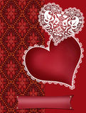 Invitation letter with lacy hearts on red Stock Photography