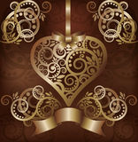 Invitation love card with golden heart Stock Photo