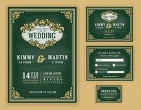 Invitation luxueuse de mariage de vintage sur le fond de tableau illustration stock