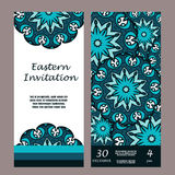 Invitation mandala design template. Graphic card with hand drawn ornament. Colorful eastern floral decor for greetings, wedding in Stock Photos