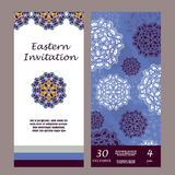 Invitation mandala design template. Graphic card with hand drawn ornament. Colorful eastern floral decor for greetings, wedding in Royalty Free Stock Image