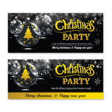 Invitation merry christmas greeting banner and card design. Template. Happy holiday and new year glass ball theme concept Stock Photography