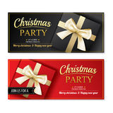 Invitation merry christmas party poster banner and card design Stock Photo