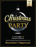 Invitation merry christmas party poster and card design template Royalty Free Stock Image