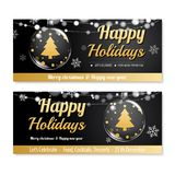 Invitation merry christmas poster banner and card design templat. E on black background. Happy holiday and new year with glass ball for voucher coupon theme Stock Photo