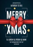 Invitation. Merry xmas. Red ribbon on a dark blue background. The names of the DJ and club. White text on a dark background. White Stock Photography
