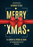 Invitation. Merry xmas. Red ribbon on a dark blue background with snowflakes. The names of the DJ and club. Gold text on a dark ba Stock Photo