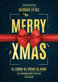 Invitation. Merry xmas. Red ribbon on a dark blue background with snowflakes. The names of the DJ and club. Gold text on a dark ba Stock Photography