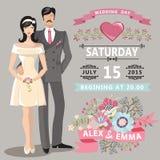 Invitation mignonne de mariage avec la jeune mariée, marié, éléments floraux illustration stock