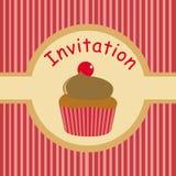 Invitation mignonne de réception pour des gosses avec le gâteau illustration libre de droits