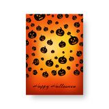 Rectangle blanket with pumpkins for Halloween. Invitation mockup with black pumpkin silhouettes for festive decoration for halloweenn Stock Photography