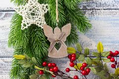 invitation new year Παιχνίδια και ντεκόρ Το θέμα του νέων έτους και των Χριστουγέννων Στοκ φωτογραφίες με δικαίωμα ελεύθερης χρήσης