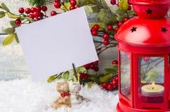invitation new year Красные подсвечник и рождественская елка sprig Тема Нового Года и рождества Стоковое Изображение RF