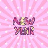 invitation new year Милая розовая предпосылка с doodle Стоковая Фотография