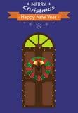 invitation new year небо klaus santa заморозка рождества карточки мешка Входная дверь с венком рождества и гирляндой Плоский диза Стоковое Изображение