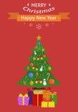 invitation new year небо klaus santa заморозка рождества карточки мешка рождество украсило вал подарков Плоский дизайн Стоковые Фото
