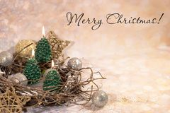 invitation new year Свечи рождественской елки в дизайне Нового Года золота стоковое фото rf