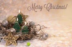 invitation new year Свечи рождественской елки в дизайне Нового Года золота стоковая фотография rf