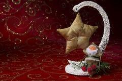 invitation new year 与圣诞树玩具的圣诞节图片 新年` s工艺 免版税库存照片