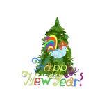 invitation new year 与标志2017公鸡的绿色圣诞树 E 免版税库存图片