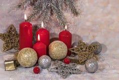 invitation new year 圣诞节红色蜡烛 新年` s设计 库存照片