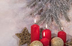 invitation new year 圣诞节红色蜡烛 新年` s设计 图库摄影