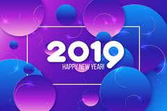 invitation new year 梯度紫色塑造构成 库存例证