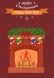 invitation new year 袋子看板卡圣诞节霜klaus ・圣诞老人天空 在红色背景的灼烧的壁炉 平的设计 图库摄影