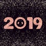 invitation new year Briljant stiliserad inskrift 2019 vektor illustrationer