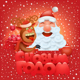 Invitation new year card with funny santa claus and reindeer characters Stock Photos