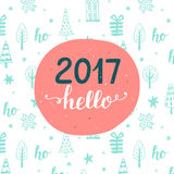 invitation new year Hello 2017 Arkivfoton